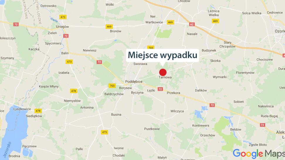 Tragiczny wypadek pod Poddębicami, dwie osoby nie żyją