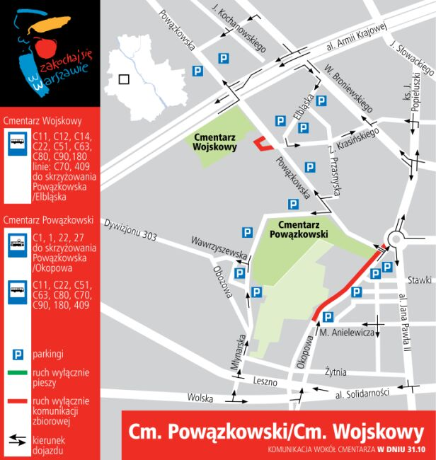 Cmentarz Powązkowski i Wojskowy w dniu 31 października UM