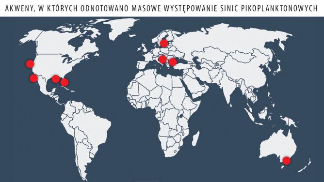 Mapa przedstawiająca gdzie odnotowano masowe występowanie sinic pikoplanktonowych