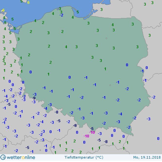 Najniższa temperatura w poniedziałek 19 listopada (wetteronline.de)