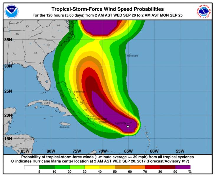 Prognozowana prędkość wiatru w huraganie Maria (NHC/NOAA)