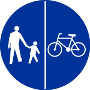 """Znak łączony C-13/C-16 kreską pionową (""""droga dla rowerów i pieszych"""")"""