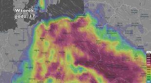 Potencjalny rozwój burz w ciągu najbliższej doby (Ventusky.com) | wideo bez dźwięku